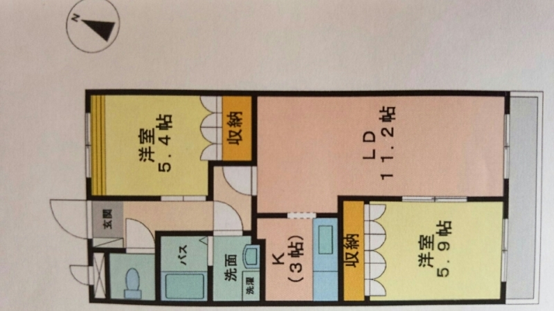賃貸住宅 2LDK 間取り図 4人家族