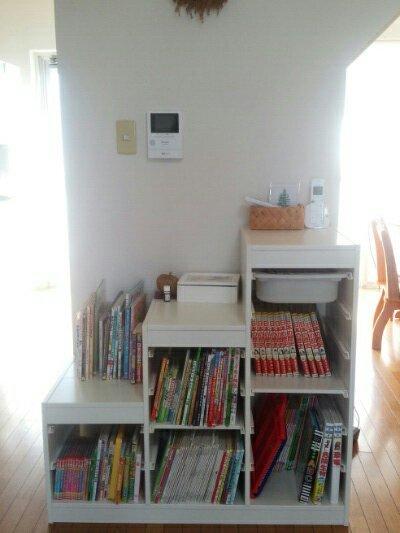 IKEAのトロファスト 棚板を入れ、「おもちゃ収納」から「本棚」へ
