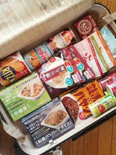 スーツケース 備蓄食料