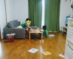 台風で休み 息子達